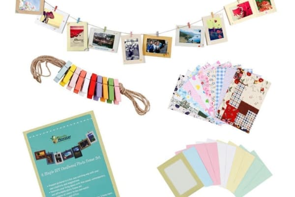 "Bundle Monster Wall Deco DIY Paper Photo Frame with Mini Clothespins and Stickers - Fits 4""x 6"" Pictures (1, Multi-color)."