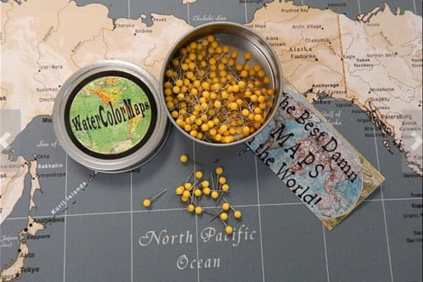 Map Pins. Travel Map Push Pins. 100 Map pins in a metal tin.