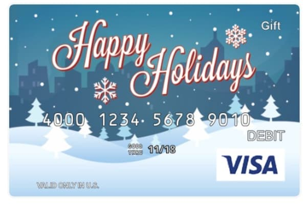 A customizable Visa gift card.