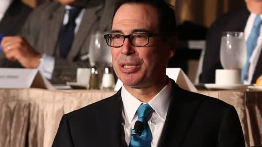 Steve Mnuchin, U.S. Treasury Secretary, speaking at the New York Economic Club on Nov. 9th, 2017.
