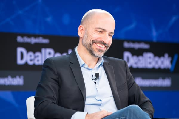 Dara Khosrowshahi speaks onstage at The New York Times 2017 DealBook Conference.