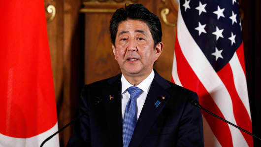 Japan's Prime Minister Shinzo Abe speaks during a news conference with U.S. President Donald Trump at Akasaka Palace in Tokyo, Japan, November 6, 2017.