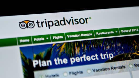 The TripAdvisor homepage