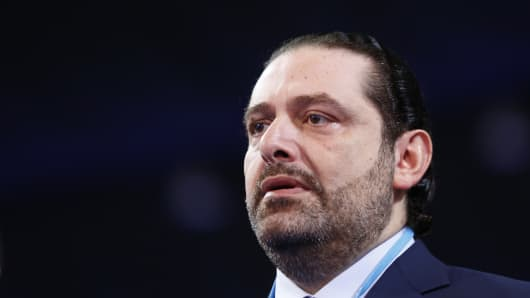 Saad Hariri, former Prime Minister of Lebanon and the leader of the Future Movement party, attends the '2nd General Assembly meeting of Future Movement party' in Beirut, Lebanon on November 26, 2016.