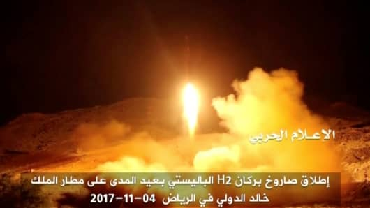 A still image taken from a video distributed by Yemen's pro-Houthi Al Masirah television station on November 5, 2017, shows what it says was the launch by Houthi forces of a ballistic missile aimed at Riyadh's King Khaled Airport on Saturday.