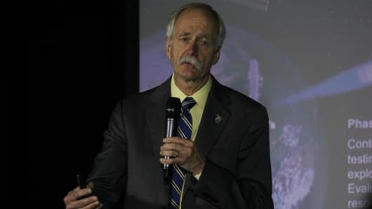 NASA associate administrator for Human Exploration and Operations Bill Gerstenmaier speaks at the New Worlds 2017 conference in Austin, Texas.