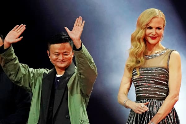 Jack Ma, Chairman of Alibaba Group, and actor Nicole Kidman attend a show during Alibaba Group's 11.11 Singles' Day global shopping festival in Shanghai, China, November 10, 2017.