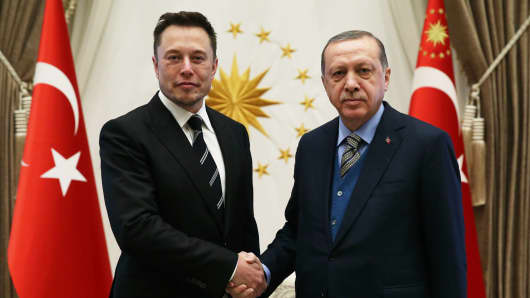 Turkish President Recep Tayyip Erdogan meets with CEO of SpaceX Elon Musk at the Presidential Complex in Ankara, Turkey on November 8, 2017.