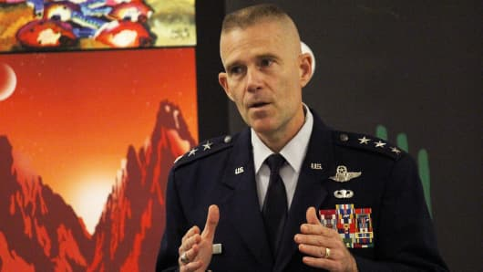 U.S. Air Force lieutenant general Steve Kwast speaks at the New Worlds 2017 conference in Austin, Texas.