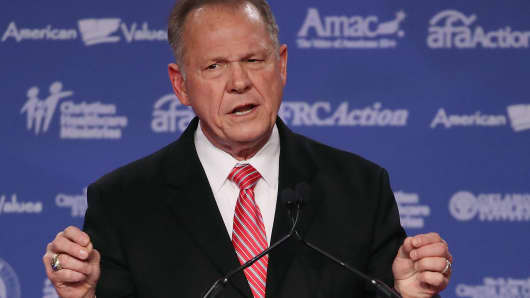 Roy Moore, GOP Senate candidate and former chief justice on the Alabama Supreme Court speaks during the annual Family Research Council's Values Voter Summit at the Omni Shorham Hotel on October 13, 2017 in Washington, DC.