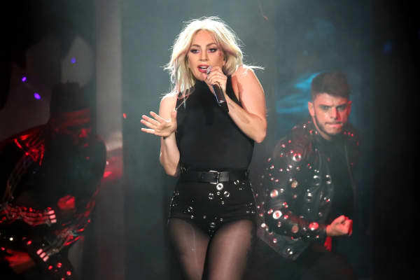 Lady Gaga performing at Coachella 2017
