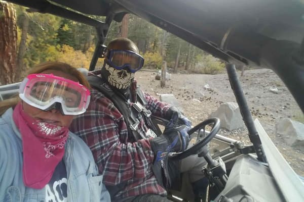 Krytzer says his doctors told him he had five years to live after suffering a car accident. Ten years later, he's seen here enjoying a dune buggy ride with his wife Lisa.