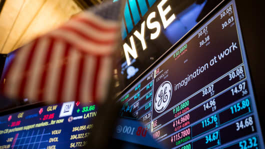 General Electric Co. (GE) signage is displayed on a monitor on the floor of the New York Stock Exchange (NYSE) in New York.