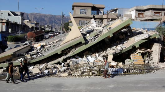 Collapsed building is seen in the town of Darbandikhan, near the city of Sulaimaniyah, in the semi-autonomous Kurdistan region, Iraq.
