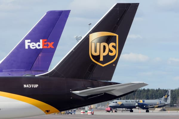 Cargo aircrafts from UPS, FedEx and West Air Europe are parked at Cargo City at Arlanda airport in Stockholm.