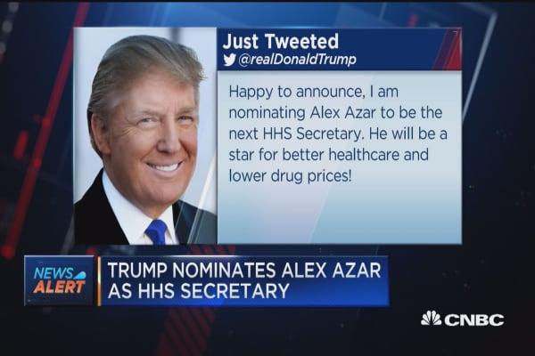 President Trump nominates Alex Azar as HHS secretary