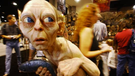 A wax version of Gollum from 'The Lord of the Rings' sits on display at the Comic-Con International Convention being held at the San Diego Convention Center.