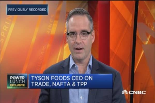 Tyson Foods CEO Tom Hayes says business is focused on domestic growth