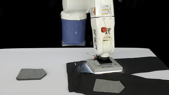 GrabIt robotics use electroadhesion, a.k.a. static cling, to lift and place pieces of fabric.