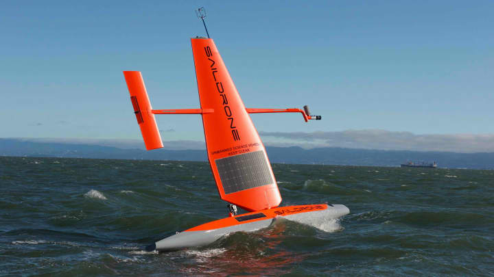Saildrone autonomous boats rove the seas, collecting data about weather, ships, fish and more.