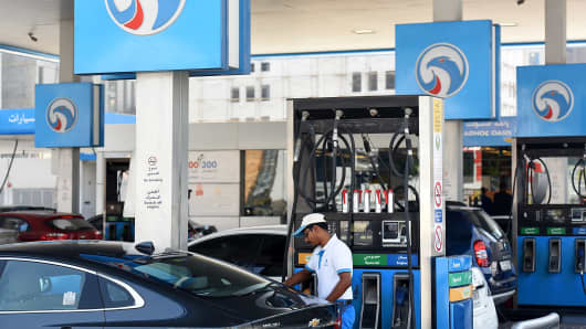 General view of Adnoc petrol station on September 25, 2017 in Dubai, United Arab Emirates.