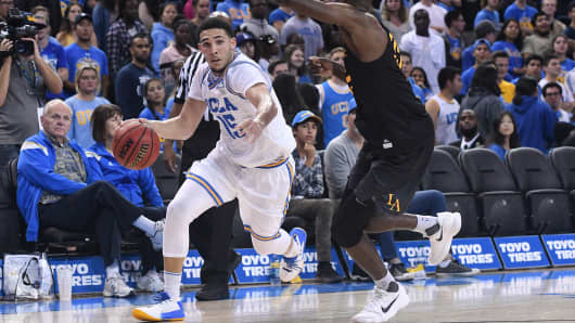 UCLA guard LiAngelo Ball (15) drives to the basket during an college exhibition basketball game between the Cal State Los Angeles and the UCLA Bruins on November 1, 2017, at Pauley Pavilion in Los Angeles, CA.