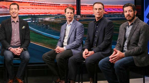 NASCAR drivers (l-r) Kyle Busch, Brad Keselowski, Kevin Harvick and Martin Truex Jr.