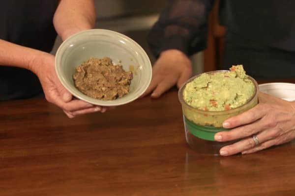 Four-day old guacamole is compared with standard cover in a bowl and the Guac-Lock (right.)