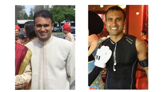 Health IQ founder Munjal Shah before his health kick started, and now.