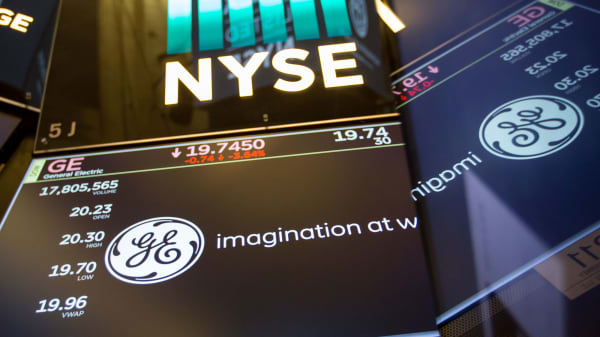 A monitor displays General Electric signage on the floor of the New York Stock Exchange.