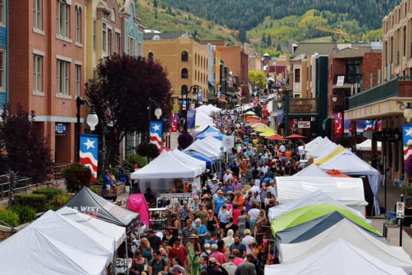 Main street in Park City, Utah during a festival.