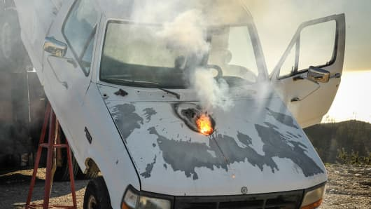A Lockheed Martin ground-based fiber laser weapon, known as ATHENA, which burned through the truck engine during a test.