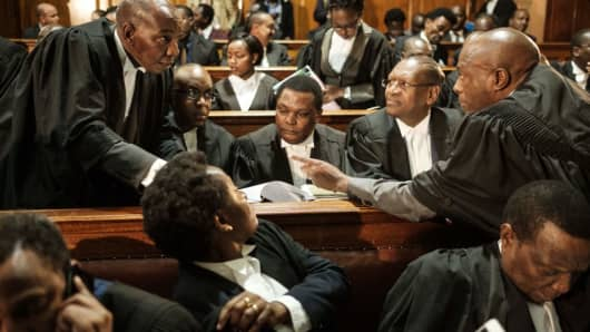 Lawyers at the Supreme Court in Nairobi, Kenya, on November 14, 2017, ahead of a hearing on October 26's repeat presidential election.