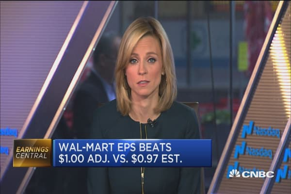 Wal-Mart shares rise on earnings beat