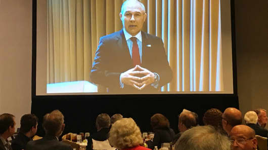EPA Administrator Scott Pruitt delivers a video message during the Heartland Institute's America First Energy Conference in Houston, Texas.