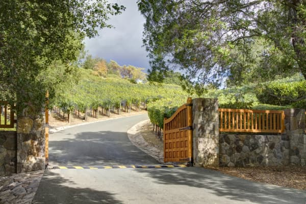 Gated entrance to the 54 acre estate that includes a 1.5 acre vineyard