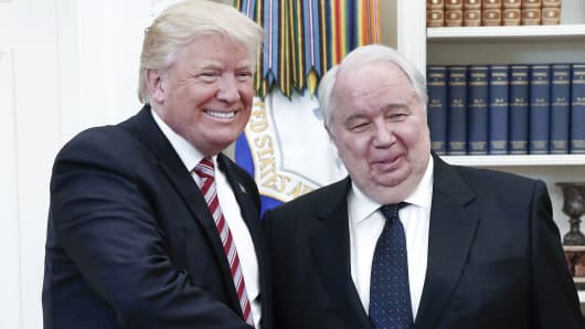 President Donald Trump shakes hands with Russian Ambassador to the United States Sergei Kislyak during talks with Russia's Foreign Minister Sergei Lavrov (not pictured) in the Oval Office at the White House.