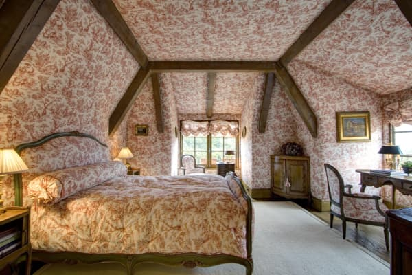 Bedroom covered in French fabric