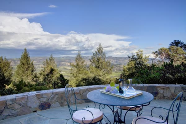 Outdoor table with idyllic views of Napa Valley
