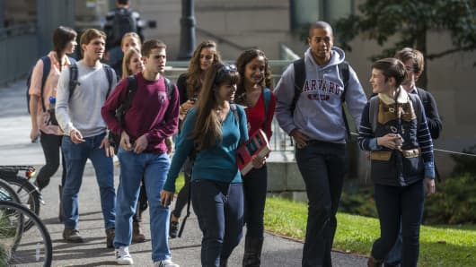 Students on the campus of Harvard Law School in Cambridge, MA.
