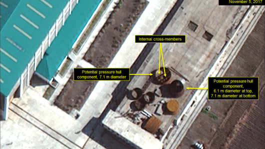 Nov. 5, 2017: Close-up of satellite imagery show potential pressure hull components of a ballistic missile submarine in North Korea's Sinpo South Shipyard