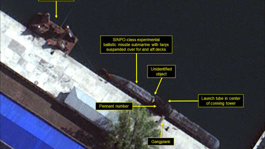 Nov. 5, 2017: Close-up of satellite imagery show components of a ballistic missile submarine in North Korea's Sinpo South Shipyard