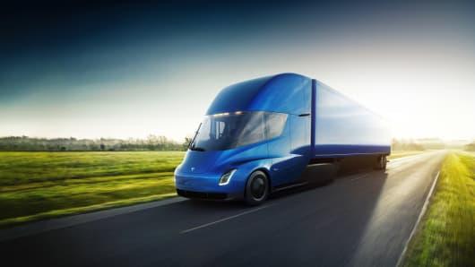 A Tesla Semi Electric Transport Truck