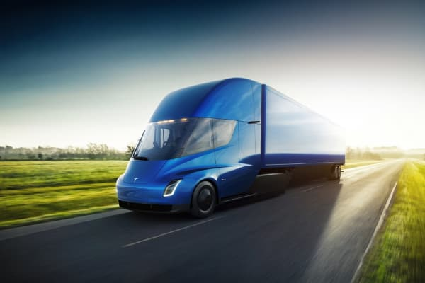A Tesla Semi electric transport truck.