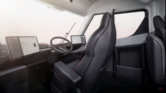 The interior of the Tesla Semi