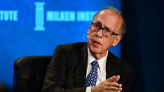 Stephen Roach of Yale University speaks on a panel during the Milken Institute Global Conference in Beverly Hills, California.