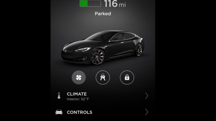 The Tesla app is full-featured