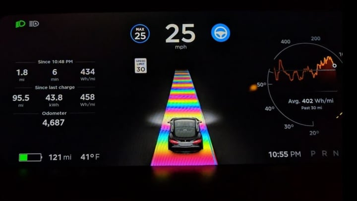 The Tesla Rainbow Road Easter egg