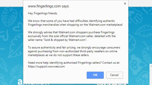 Warning Featured On Fingerlings Website