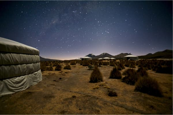 Pop-up yurt in the Andes